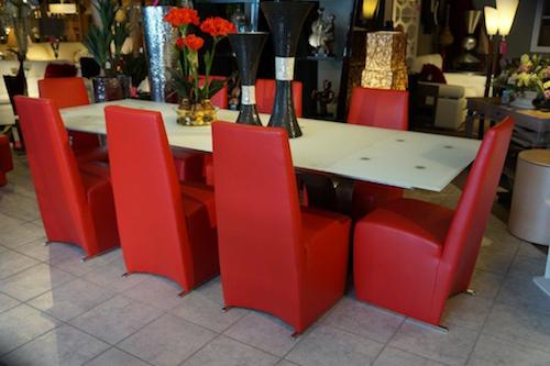White Dining Table with Red Chairs