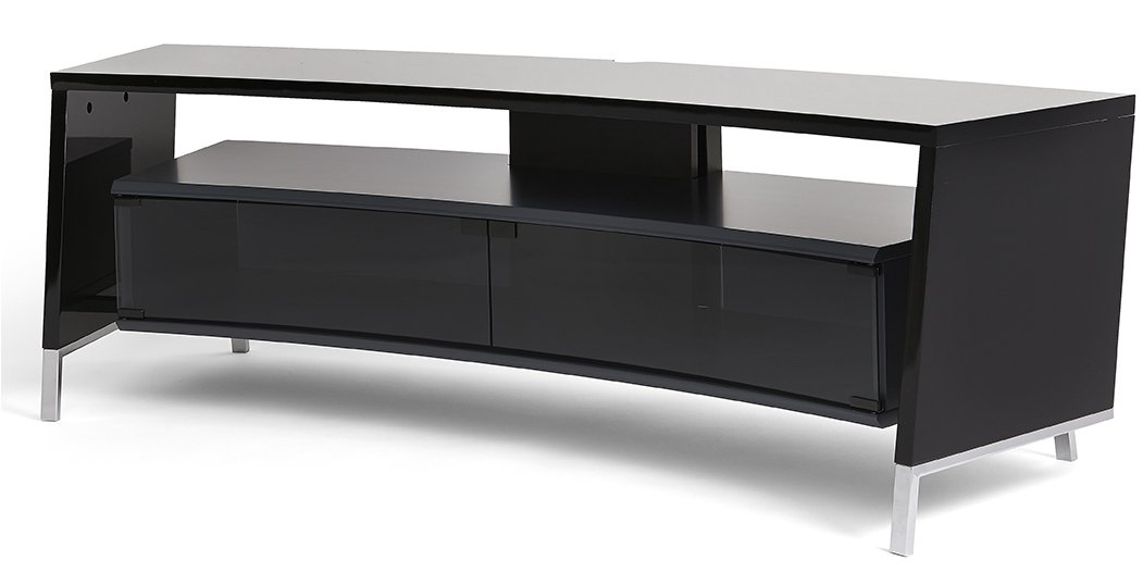Complete with curved layers of glass, these stands allow the television and console to feel like one.