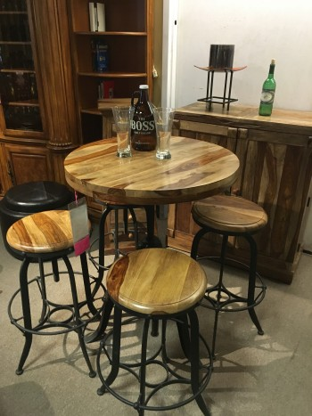 rustic round bar table
