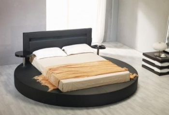 round leather bed