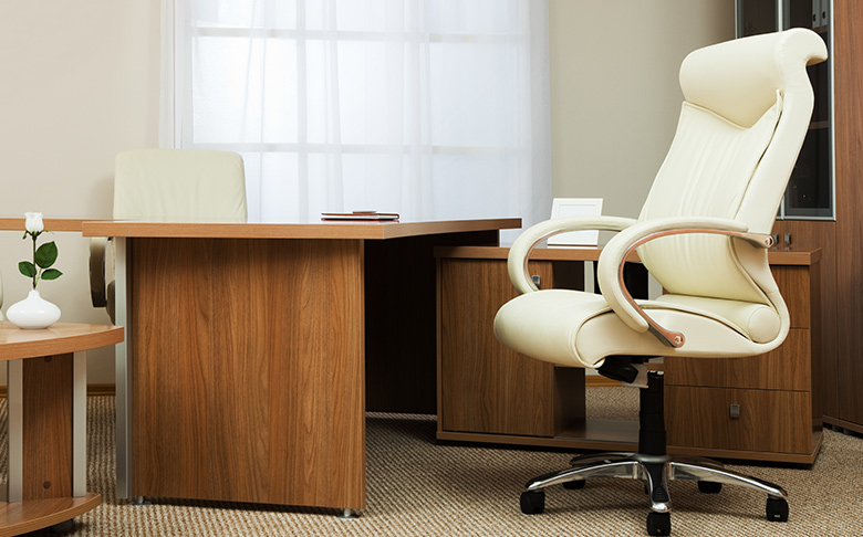 office furniture, white chair, behind wooden desk