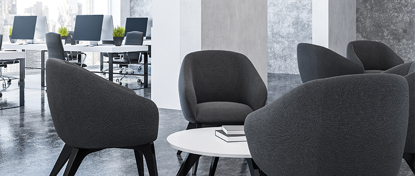 Office furniture: grey chairs and white coffee tables