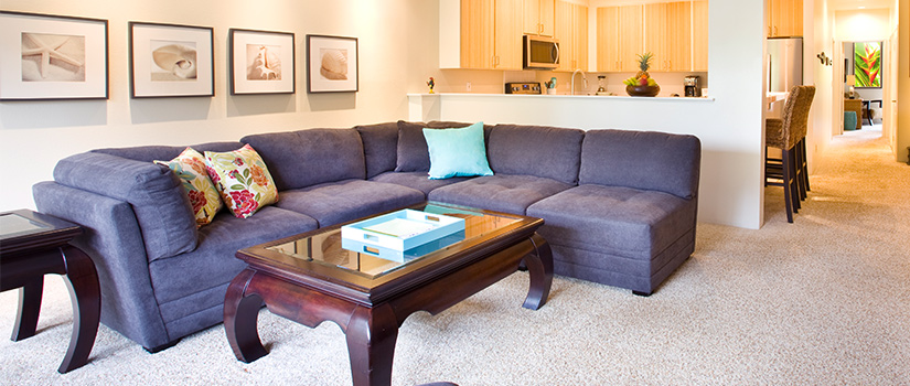 A cozy sectional couch grouped with a coffee table.