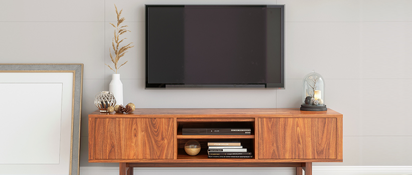 A gorgeous TV stand, perfectly sized to accommodate a small TV.