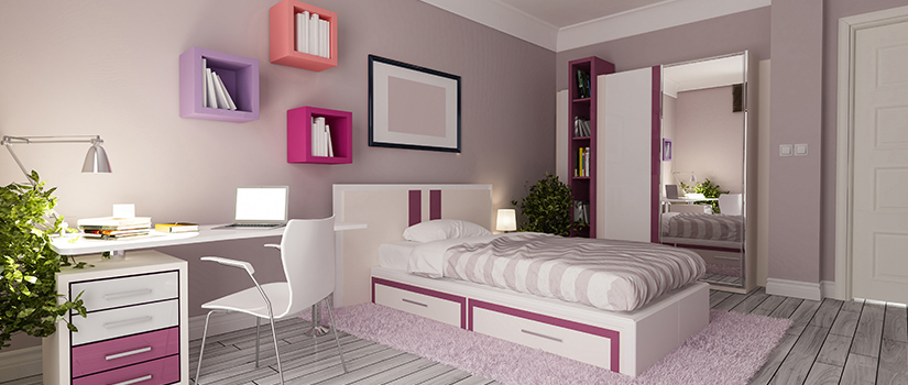 A youth's room, with pink accents on white furniture.
